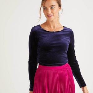 Boden Suki Long Sleeve Velvet Top